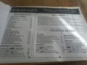 Lola's Cafe - Beverages & Dessert Menu