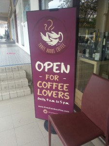 Three Hands Coffee - Banner Outside Shop