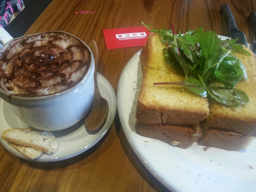 Sunday Market - My Lunch, Cappucino & Pulled Duck Sandwich