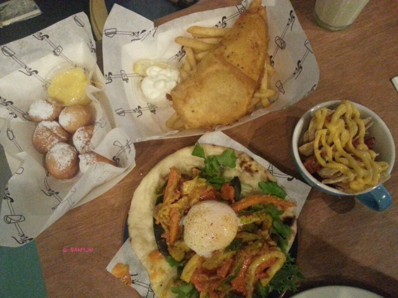 Fix Cafe - Our Order, Dount with Lemon Dip, Fish & Chips, Chicken Tikka Naanwiches with Nachos