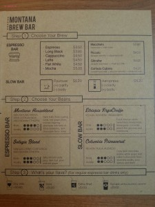 Montana Brew Bar - Coffee Menu