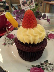 Brunches Cafe - Red Velvet with Mango Sauce
