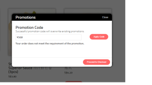 Yum Cha Express Promotion Code Prompt Screen