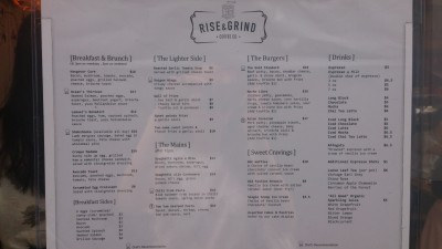 Rise & Grind Coffee Co Cafe - Menu