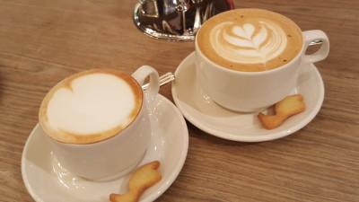 The Library Cafe - Cappuccino and Vanilla Bean Latte