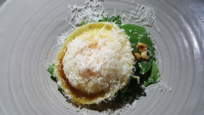 Maggie Joan's - Smoked potato & egg raviolo, spinanch and hazelnuts