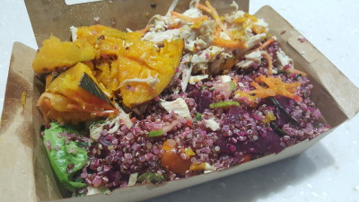 Food Rebel - Flavoursome Scarlet Quinoa ($15) Top It Up with Oven Baked Chicken ($4) and Baked Pumpkin ($3)