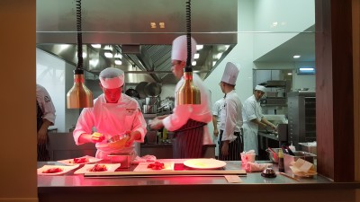 The Sapling, SHATEC Training Restaurant - Students Preparing for our dinner with their Mentor Chef