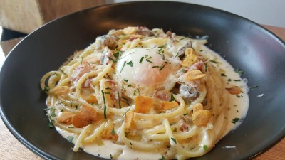Rise And Grind Co On HollerOut App - Truffled Spaghetti Alla Carbonara ($15)