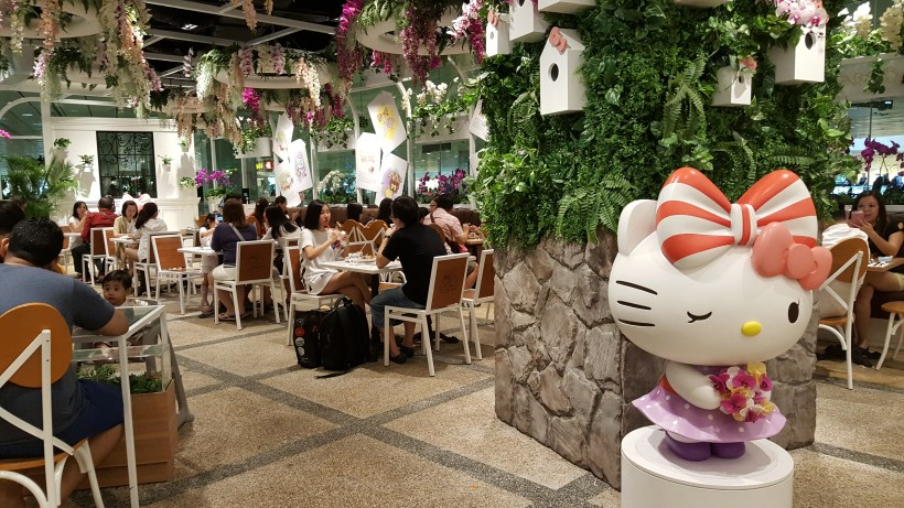 Hello Kitty Orchid Garden Cafe at Changi Airport Terminal 3, Singapore - Dinning Area with the Hello Kitty Mascot