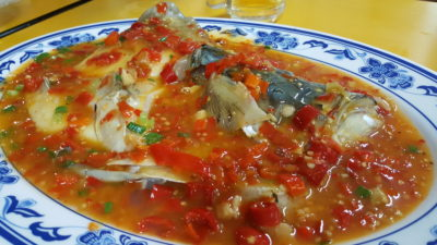 Si Chuan Flavour Crab Stall 川味坊香辣蟹 at People's Park Food Centre, singapore - Spicy Fish Head 霸王鱼头 ($14)