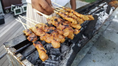 Hawker Fare Buffet At Makan @ Jen, Hotel Jen Orchardgateway, Somerset, Singapore - Satay grilling in progress