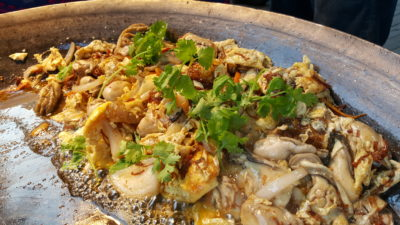 Hawker Fare Buffet At Makan @ Jen, Hotel Jen Orchardgateway, Somerset, Singapore - Oyster Omelette in Pan