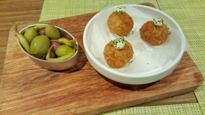 UNA At One Rochester New Menu, Singapore - Encurtidos ($10) on left and Croquetas De Jamon Iberico, 4 pc ($14)