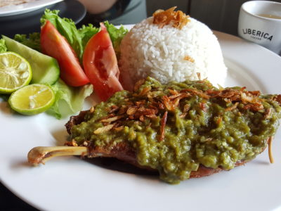 Liberica Coffee At South Quarter, Jakarta, Indonesia - Bebek Penyet Cabe Ijo (IDR 101k)