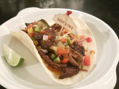 Coyote Tex-Mex Bar & Grill At Phoenix Park, Tanglin, Singapore - Beef Lung Taco ($21)
