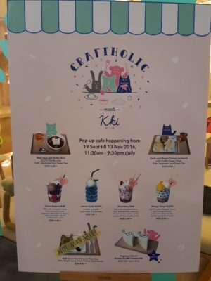 Craftholic Pop-Up Cafe @ Kki Sweets In SOTA, Singapore - Menu