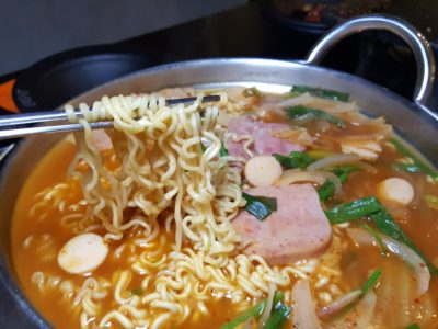 8 Korean BBQ At Shaw Centre In Orchard, Singapore - Closed-up of noodles in Army