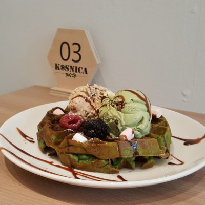 Kosnica Ice Cream Cafe At Duxton Road In Tanjong Pagar, Singapore - Matcha Waffle with Double Scoop ($15.50)