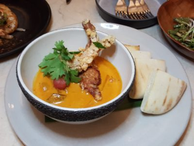 Open Farm Community New Locally Inspired Menu - Crispy Jurong frog legs, root vegetables & lemak inspired curry, garden curry leaves ($26)
