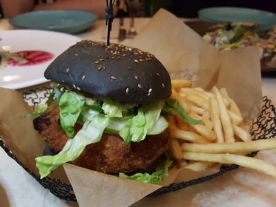 Open Farm Community New Locally Inspired Menu - Red grouper burger, chucky tar tar sauce, pickled cucumber, local green salad ($30)
