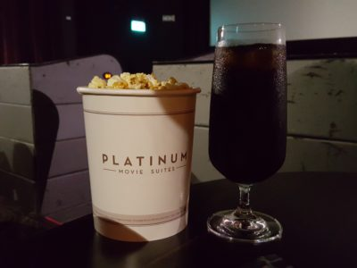 Luxurious The Cathay Platinum Suites With First Class Recliner Seats, Food, Wine and Drinks - Popcorn and Drink