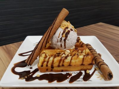 Caffe Zeppin At Midview City With An Array Of Offering - Mini Waffle (Original) with Single Scoop Ice Cream ($6.50)