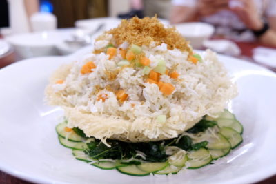 Celebrating Chinese New Year 2018 With Park Hotel Clarke Quay - Fragrant Fried Rice with Crabmeat, Egg White and Crunchy Root Vegetables in Vermicelli Basket 一团和气 (香炒蛋白蟹肉炒饭米粉篮)