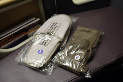 Flying Singapore Airlines Business Class SQ336 From Singapore To Paris - Slippers