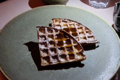 Henrietta Restaurant Along Henrietta Road, Pre-Theatre Set Dinner - Warm Buckwheat Waffle with Smoked Fudge Sauce and Sour Cream