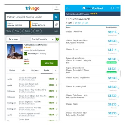 Trivago Versus Hotelscombined.com Hotel Price Comparison Website - Trivago vs Hotelscombined.Com Searched Result For Pullman