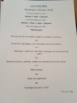 Le 6 Paul Bert, A Restaurant In Michelin Guide That Offers Value-For-Money Delicious Food, Highly Recommend - Menu