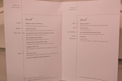 Business Class On A380 Singapore Airlines, SQ336 From Singapore To Paris - Paris to Singapore, Lunch Menu