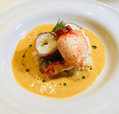 Modern European Classics Take Centrestage At Tablescape In Grand Park City Hall Hotel - Prosciutto Ham Wrapped Monkfish and Maine Lobster on Risotto in Armagnac Bisque