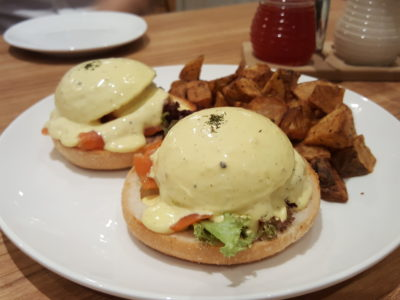 Eggs 'n Things With Eggs And Pancake For All Day Breakfast At Plaza Singapura - Smoked Salmon & Avocado Egg Benedicts ($19.90)