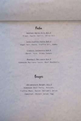 Twenty Eight Cafe At Wilkie Road, A Cafe With White Space - Pasta & Burger Menu