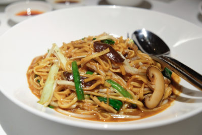 Madame Fan By Alan Yau At The NCO Club - E-Fu Noodle, braised, dried shiitake, Hokkaido dried scallop 瑶柱鲜菇干烧伊面 ($16)