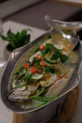Un-Yang-Kor-Dai Dishing Delicious On Point Authentic Thai Food At South Bridge Road -Steamed Whole Sea Bass (500g) in Spicy Lime Sauce ($28)