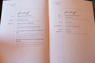 Singapore To Mumbai On SQ424 Business Class, Airbus A380-800 - After Take Off Dinner Menu