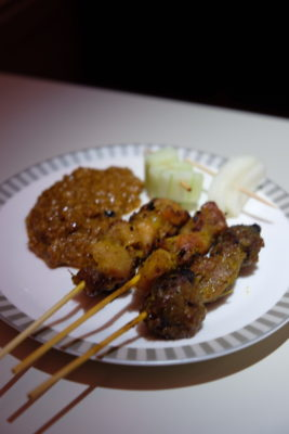 Singapore To Mumbai On SQ424 Business Class, Airbus A380-800 - Chicken and Lamb Satay