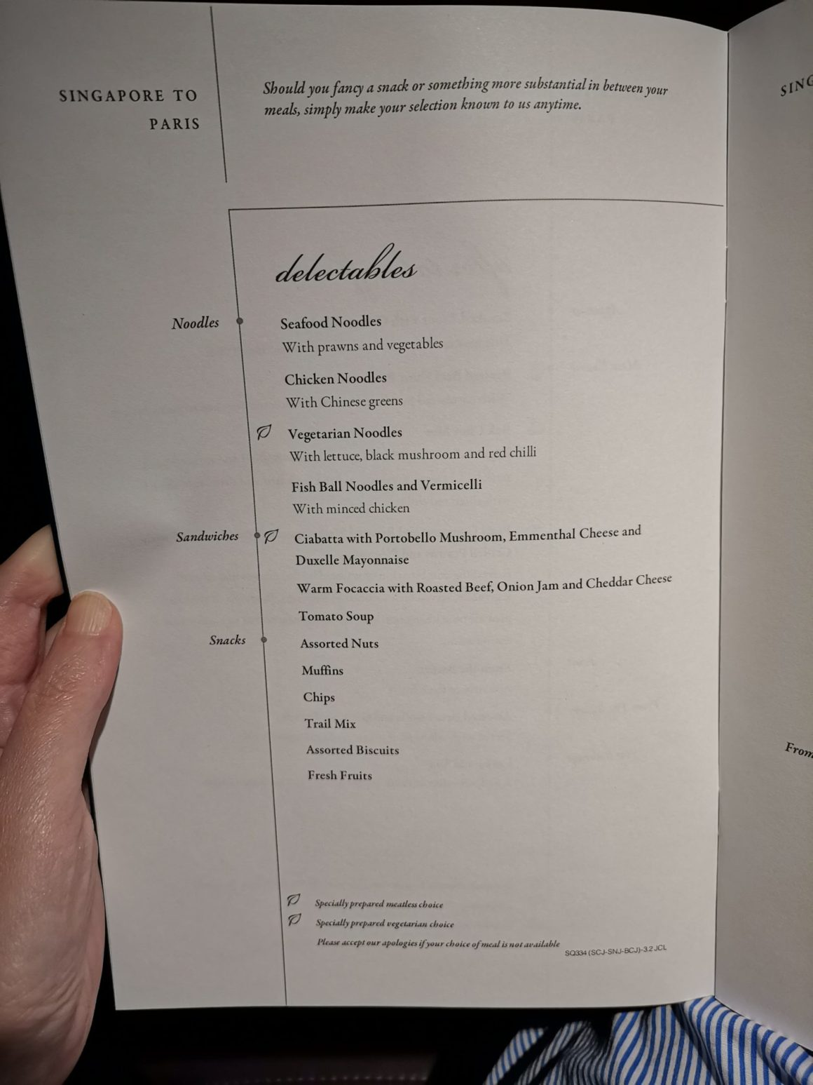 Singapore Airlines Business Class SQ334 From Singapore To Paris – Delectables Menu