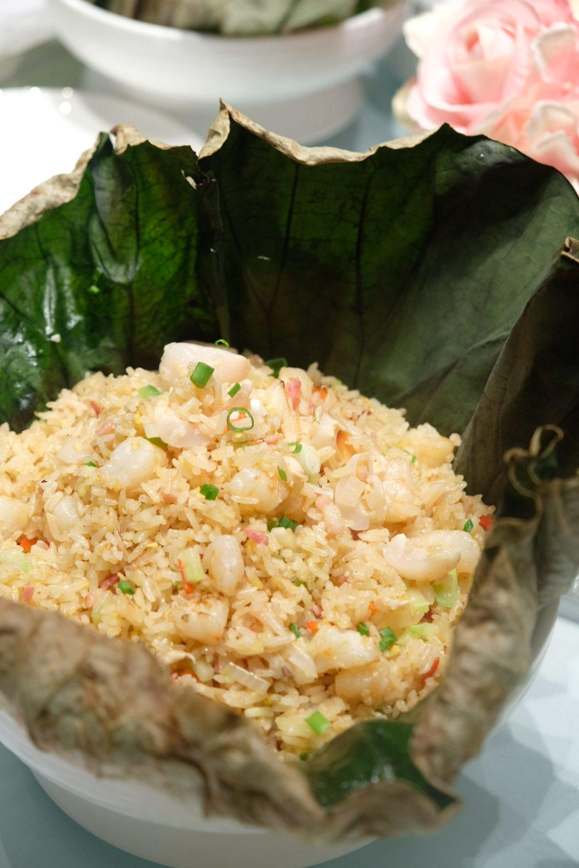 Parents' Day Promotion At Crystal Jade - Supreme fried rice with prawn, bacon and lychee wrapped in lotus leaf ($30)