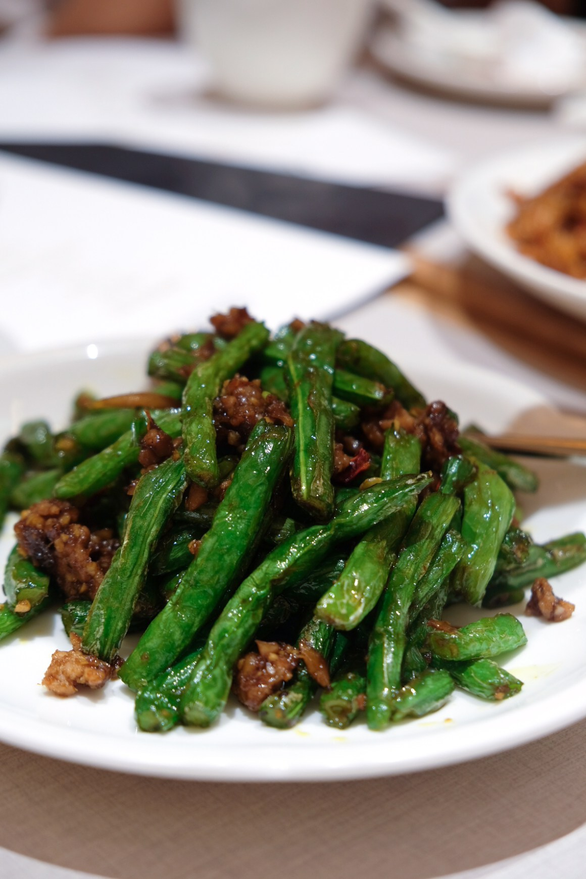Stir-fried French Bean with Minced Pork and Preserved Olive