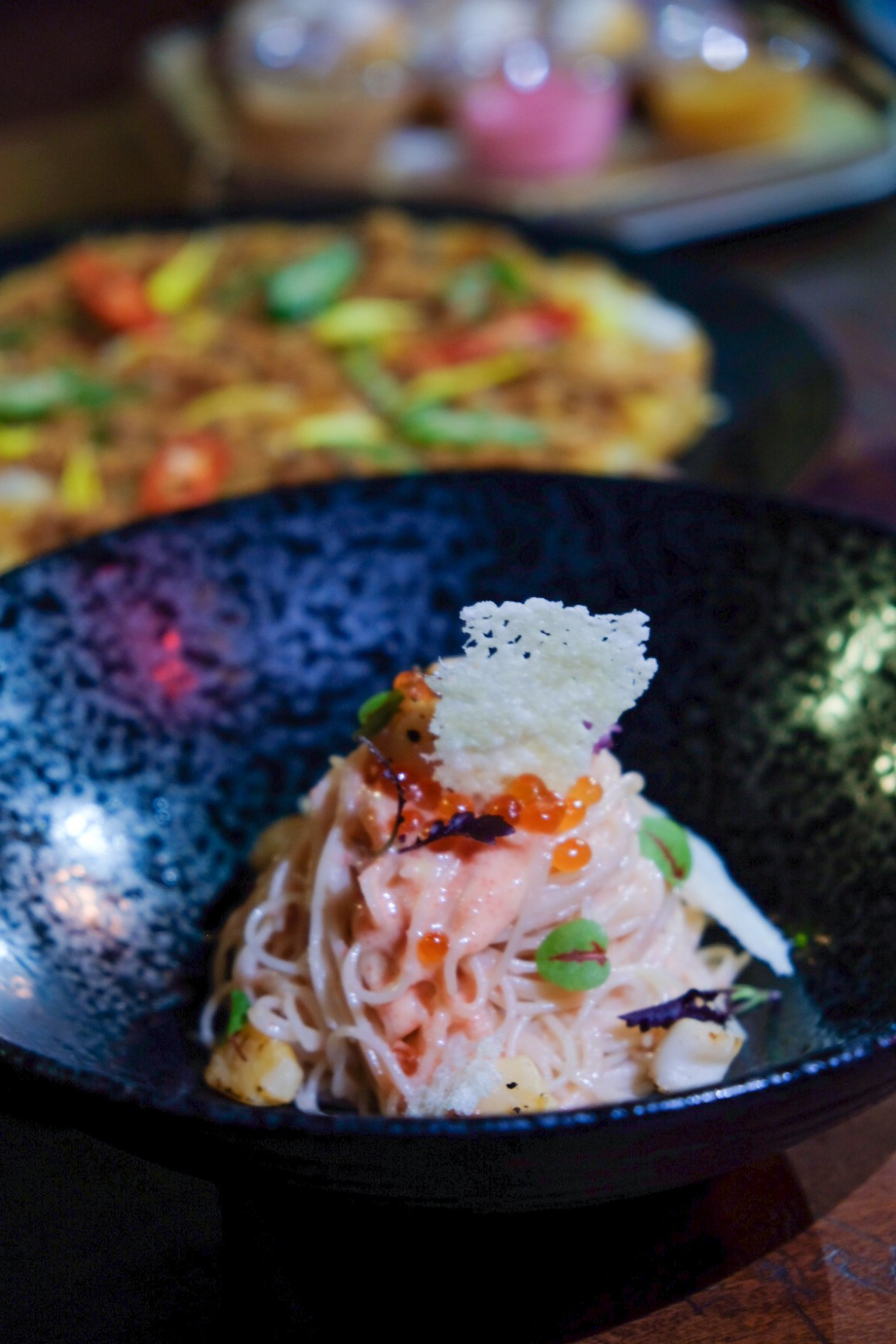 Wan Bar + Kitchen At Suntec City, Delicious Bar Grub With Alcoholic Bubble Tea - Angel Hair Pasta With Mentaiko and Scallop