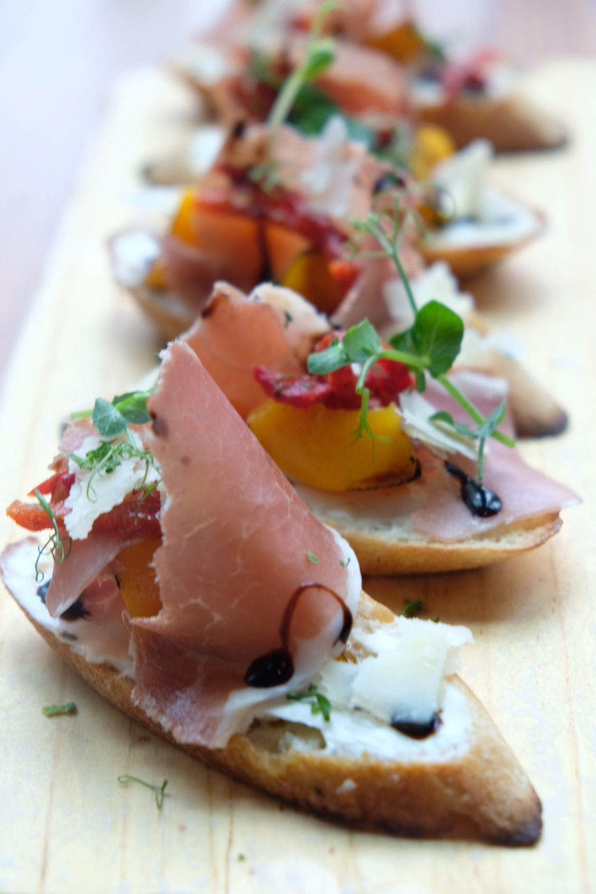 Supply & Demand Orchardgateway New Menu - Peach and Parma Ham Crostini ($14)