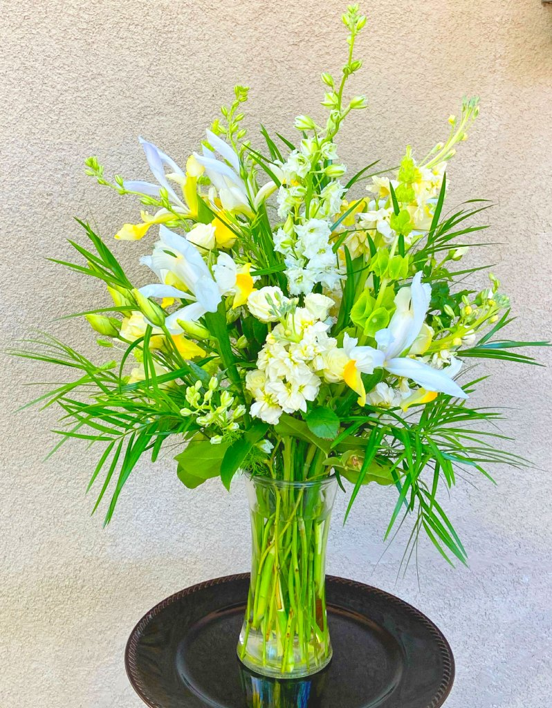 Sympathy Arrangement Yellow and White