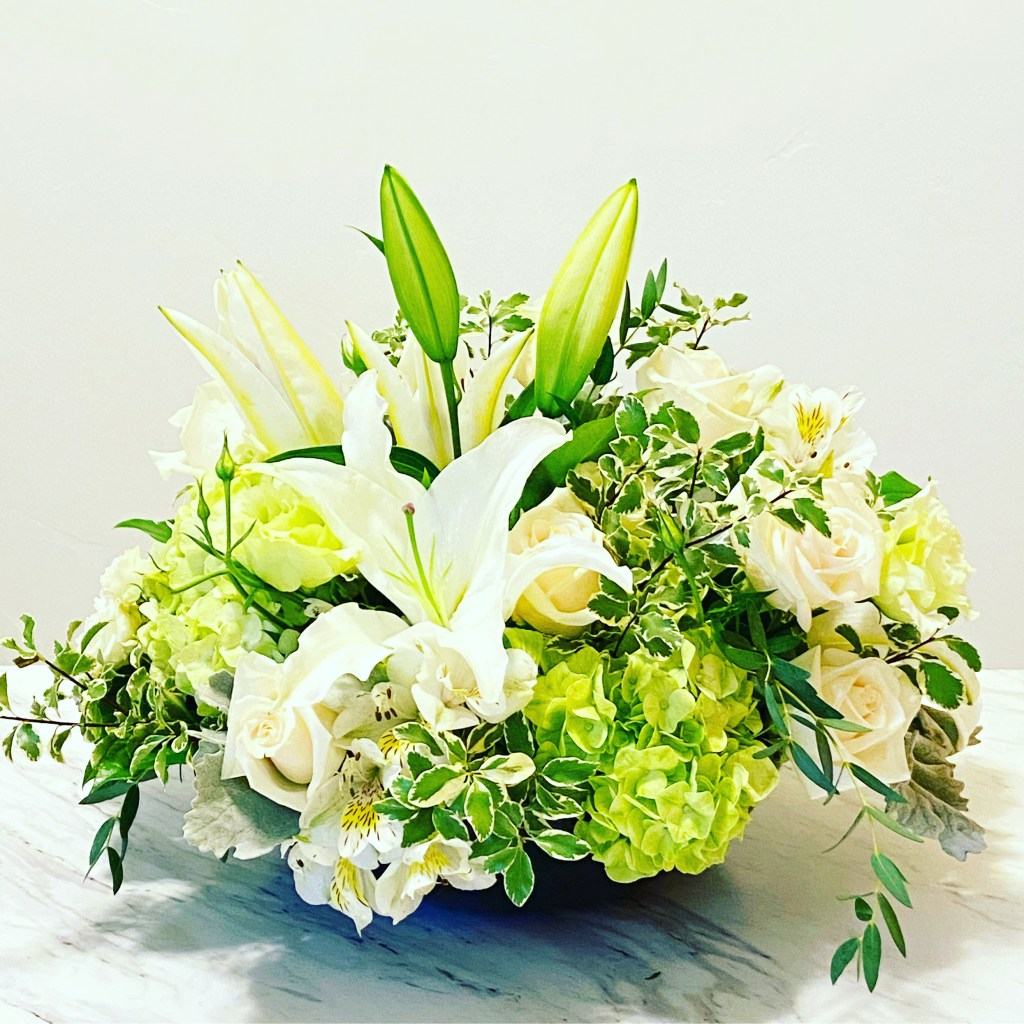 White and Green in a Design Bowl