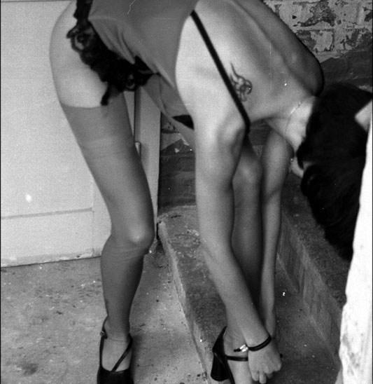 Bea Red Nylon Stockings