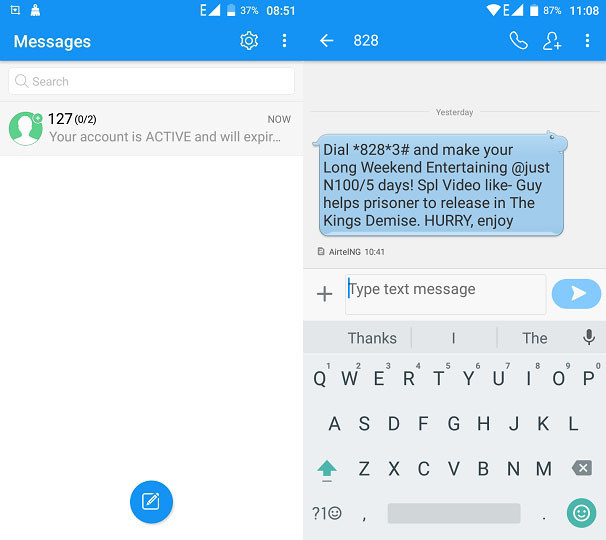 gretel a9 messaging and typing