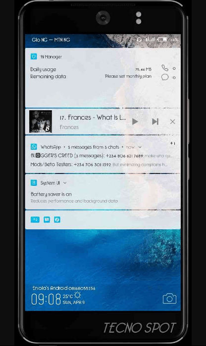Tecno Camon CX User Interface